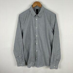 H&M Mens Button Up Shirt Size Medium Slim Grey Long Sleeve Collared 19.09
