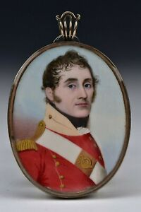 Miniature Portrait Painting British Red Coat Military Officer Frederick Buck