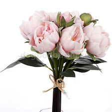8 Heads Real Touch Latex Peony Bridal Bouquets Pink Ivory Bridesmaid Flower Girl