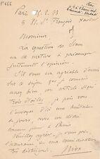 Armée Général Niox lettre autographe signée siam Indochine 1893
