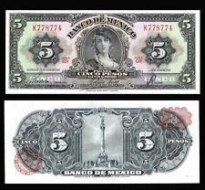 Banco de Mexico 5 Pesos Gypsy 24-7-1957, Series GR. P-60b. AU