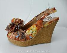 NAUGHTY MONKEY Women's Shoes Size 6 Open Toe Sling Back Floral Wedges
