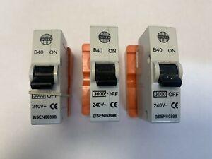 WYLEX 40A Type B Push/Plug-In Circuit Breaker ~B40 40 Amp MCB ~Inc. Orange Base