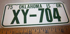 Oklahoma Bicycle plate - 1975 - Novelty Metal Bike plate, great collector item