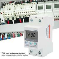 220V Din Rail Single Phase Value Adjust Over Under Voltage Protector LCD Display