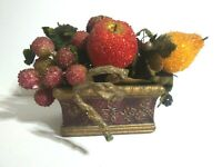 Vintage Mid Century Modern Beaded Fruit Arrangement Red Gold Container