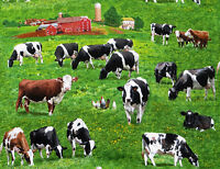 COWS CATTLE FARM RANCH ELIZABETH STUDIO 100% COTTON FABRIC  FARM ANIMALS YARDAGE