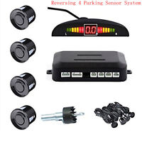 BLACK Wireless Car Parking Rear Reverse 4 Sensors Buzzer Radar Alarm