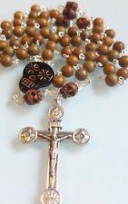 Woodgrain Jasper Day of the Dead Biker Rosary Necklace Sugar Skull Unisex Men's