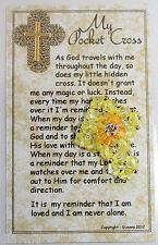 Handmade beaded yellow Pocket Cross Christian CRUCIFIX Jesus Christ God + car