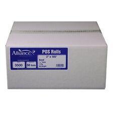 "Alliance Bond Paper Receipt Rolls 3""x165' - 50 Rolls"