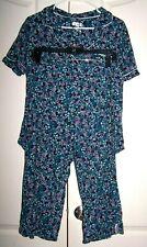 SECRET TREASURES 2 Pc Pajamas BLUE FLORAL_sz L(14-16) Sleepwear, one pocket EUC