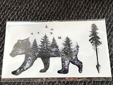 """Tattoo BEAR temporary 2""""x3 diving snorkel surf GIFT #8 summer party favor BL/WHT"""