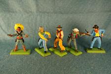 Vintage 1980 Wild West Britains Cowboys Deetail Metal Based Model Lot (5) #7670