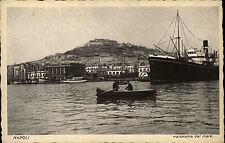 Napoli Neapel Italien ~1920/30 Panorama dal mare Blick auf Hafen Porto Schiff