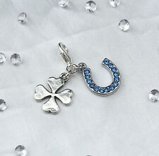 Something Blue Crystal Horse Shoe & Four Leaf Clover Bride Gift Garter Charm
