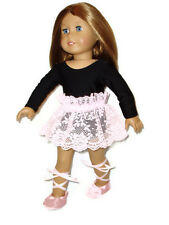 """3 pc Ballet Outfit fits American Girl Dolls 18"""" Doll Clothes Leotard Tutu Shoes"""