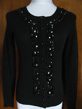 Bloomingdale's Women's cashmere black beaded Cardigan XSmall