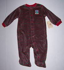 NWT Red & Green stripe Christmas sleeper outfit romper 6 9 mo
