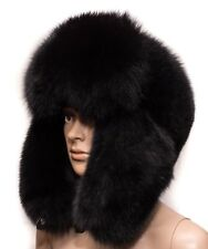 Genuine Black Velvet Fox Fur Handmade Men's Winter Cap Trapper Ushanka Hat