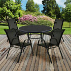 Glass Table Textoline Chairs Furniture Sets Metal Frame Black Garden Patio