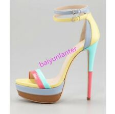 Ladies Sexy Multi Colors Sandals peep Toe Stiletto High Heel Double Strap Shoes