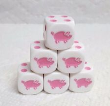 Dice - Koplow's Pigs! 16mm White w/Pink Pigs as #1 & Pink Pips - Set of Six