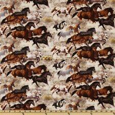 BTHY Home On the Range Running Horses Earth Cotton Fabric By The Half 1/2 Yard