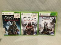 LOT OF 3 XBOX 360 GAMES ASSASSIAN CREED 3 REVELATIONS & BROTHERHOOD Rated M 17+