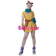 Dragon Ball Z Bulma Cosplay Costume Yellow Dress+Scarf+Belt