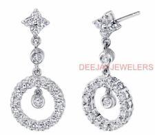Diamond Earrings Dangle Drop 18k White Gold 1.38ct VS1 Halo