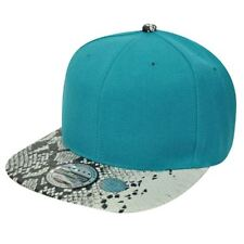 Blank Plain Teal Faux Snake Print Flat Bill Snapback Solid Constructed Hat Cap