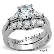 Steel Wedding Ring Set Women's Size 5-10 1.95 Ct Round Cut Aaa Cz Stainless
