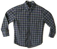 Vince Shirt Men's Medium Button Front Long Sleeve Blue Plaid Button Collar