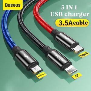 Ladekabel 3in1 Multi Schnell USB Typ-C Micro IOS Handy für Samsung iPhone Huawei