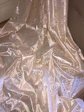"1 MTR LIGHT GOLD METALLIC LACE ON SATIN BRIDAL FABRIC...60"" WIDE"