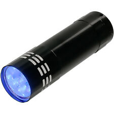Black Mini Aluminum UV ULTRA VIOLET 9 LED FLASHLIGHT BLACKLIGHT Torch Light Lamp