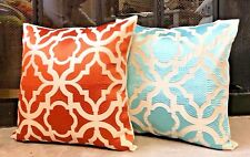 "GeoDecorative Pillow HolidayDecor PillowcaseSheer Orange Embroidery 16""X 16"" $35"