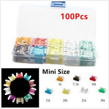 Car 100pcs Mixed Color Mini Size Low Profile Blade Fuse 5 7.5 10 15 20 25 30 A