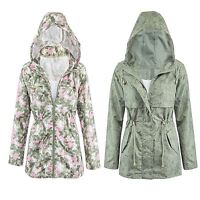 New Womens Lightweight Khaki Plus Size Graphic Fishtail Rain Parka Coat Jacket