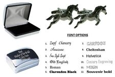 Pewter Equestrian Horse Cufflinks + Personalised Chrome Engraved Case. XWCL095