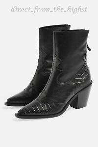 TOPSHOP MARCEL 2 Black Western Mid Heel Ankle Boots SIZE EU 36_37_38_39_40_41_42