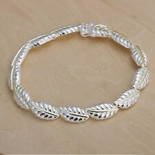 Wholesale 925Sterling Solid Silver Jewelry Gold Feather Bracelet For Women H058