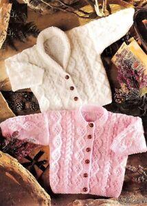 "Baby Boys Girls Cable Jacket Cardigan Shawl collar KNITTING PATTERN Aran 18 -26"""