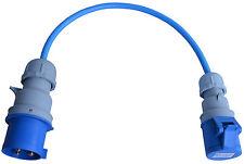 240V 32 AMP Plug To 16 AMP Socket 4mm Arctic Blue Changeover Lead 50cm