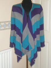 Per Una Purple Striped Waterfall Cardigan Size 14