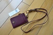 Tory Burch Emerson Lanyard Leather Card ID Case Holder Wallet