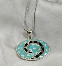 Turquoise, Mother-of-Pearl, Black Onyx, Mosaic Pendant, Sterling Silver Chain