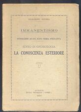 Guglielmo Guerra Immanentismo Sunto di Gnoseologia La conoscenza esteriore 1932