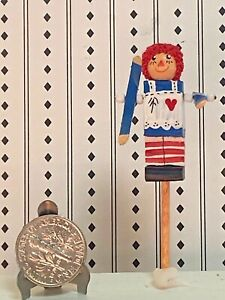 Vintage Raggedy Ann Whirligig Hand painted Spinning Arms Dollhouse July 4th